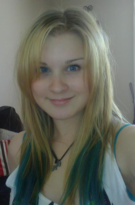 Me with the Blonde and my blue dip dye hair extensions!